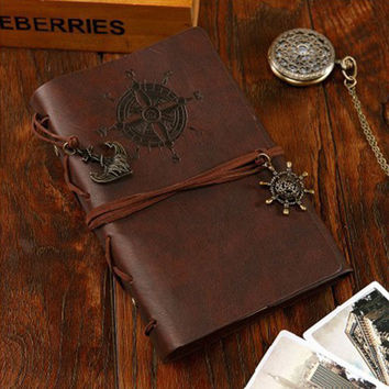 vintage PU leather pirate travel diary book retro spiral notebook notepad stationery office school supplies