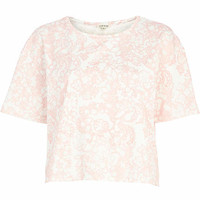 PINK FLORAL EMBOSSED T-SHIRT