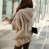 Fashion loose knit cardigan sweater coat (Photo Color)