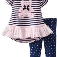 Young Hearts Baby Girls' 2 Piece Stripped Bear Polka Dot Shirt And Pant, Pink, 18 Months