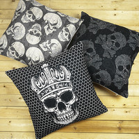 Skull pillow case, Offbeat rock skeleton Punk tattoo crown cotton linen throw pillow cushion cover pillow