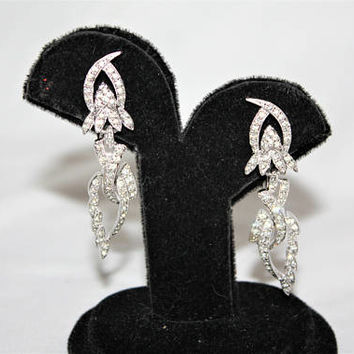 Vintage Drop Dangle Rhinestone Clip On Earrings 1970s Estate Jewelry