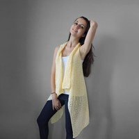 FREE SHIPPING Pure cotton vest Knitted light yellow long vest Spring summer vest Lace vest Plus size overcoat Extra large S - XXXL