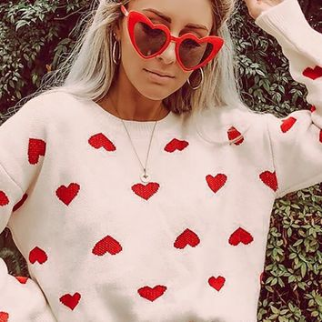 Be My Valentine White Red Heart Pattern Long Lantern Sleeve Crew Neck Pullover Sweater
