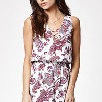 Kendall and Kylie Paisley Print Crisscross Straps Romper at PacSun.com