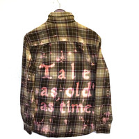 "Beauty and the Beast Plaid Flannel Shirt (Disney's ""Tale as old as time..."")"