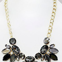 Crystal Floral Statement Necklace