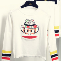 Monkey Cartoon Print Striped Long Sleeve Knitted Sweater Suit