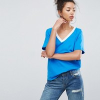 ASOS T-Shirt in Boyfriend Fit With Contrast V-Neck at asos.com