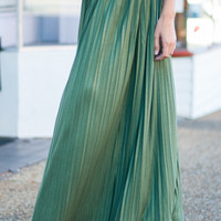 Accordion Maxi Skirt, Olive