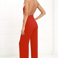 Keep Playing That Song Red Halter Jumpsuit