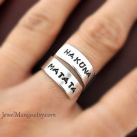 Hakuna Matata ring Custom Ring Personalized Ring by JewelMango
