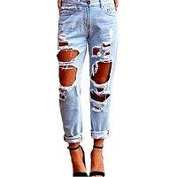 NEW Slim Hole Ripped Jeans for Women Mid Waist Denim Plus Size loose Pants Blue 2018 Casual Design ladies akikihi **