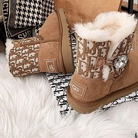 UGGx Dior CD joint short tube waterproof and ski boots shoes winter thick rhinestone buckle cotton shoes