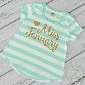Birthday Month Shirt Little Miss Birthday Month First Birthday Shirt Gold and Green T-Shirt 033