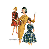 1960s McCalls 6430 ROCKABILLY PARTY DRESS Pattern Front Ruffle Dress Full Fitted Skirt Bust 30.5 UnCUT Junior Petite Womens Sewing Patterns