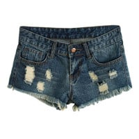 ROMWE Ribbed Distressed Blue Denim Shorts
