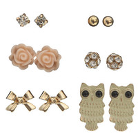 6 Owl Earring Set | Shop Jewelry at Wet Seal