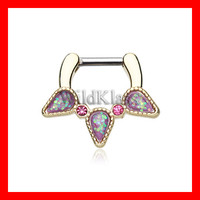 Gold Septum Clicker Opal Purple Sparkle Trident 16g 14g Septum Ring Cartilage Earrings Nipple Ring Circular Barbell Tragus Jewelry Helix