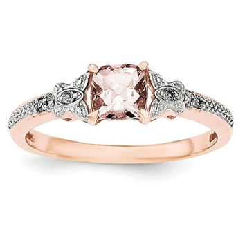 Sterling Silver Rose Gold-Plated Cushion Cut Morganite & Diamond Ring