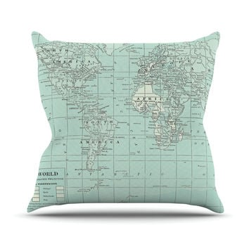 """Catherine Holcombe """"The Old World"""" Blue Teal Outdoor Throw Pillow"""