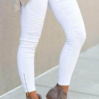 City Slicker Moto Jeggings - White