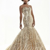 Perfect Mermaid Sweetheart Floor-length Prom Dress Sequins Champagne Style 16779,2013 Prom Dresses