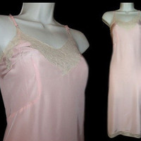 Vintage Mary Barron Biastrait Slip Pink Rayon White Lace Full Dress 34