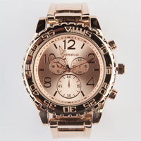 Geneva Metal Oversized Face Watch Rose Gold One Size For Women 23593538101