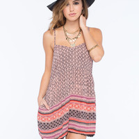 Angie Border Print Womens Romper Red  In Sizes
