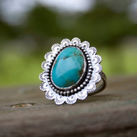 Turquoise Bloom Kingman Turquoise Sterling Silver Hand Stamped Ring