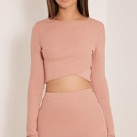 Alena Nude Cross Front Bandage Crop Top
