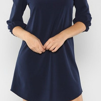 Navy Solid Shift Dress