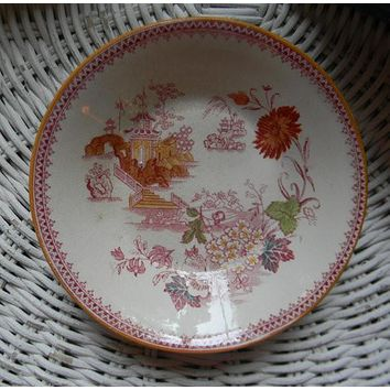 Antique Aesthetic Movement Transferware Red Polychrome Asian Oriental Motif Candy Dish Bowl Flowers Pagoda