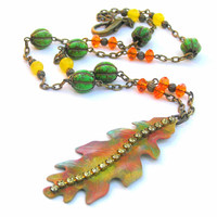 Autumn Leaf Necklace, Fall Colors Necklace, Nature Jewelry, Leaf Necklace