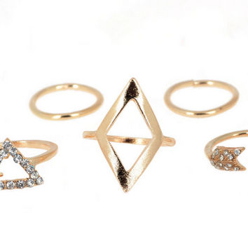 Girls Gold and Silver Stacking Midiring Knuckle Ring Set