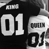 King Queen T Shirt Womens Mens Print T-Shirts Couple Lovers Clothes Fashion Punk T Shirt Couple T-Shirt Cool Gift