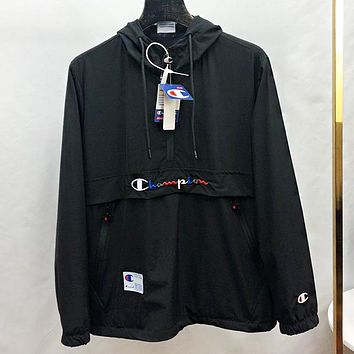 Champion New fashion embroidery letter hooded long sleeve trench coat windbreaker Black