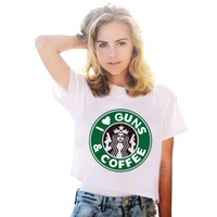 I love Guns and Coffee Printed Short Sleeve Casual Plain Top Shirt T-Shirt _ 4026