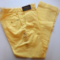 NWT POLO RALPH LAUREN MEN SLIM FIT CHINOS PANTS YELLOW 30X30