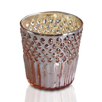 Vintage Mercury Glass Tealight Holder (2.75-Inch, Ophelia Design, Rose Gold Pink) - For Use with Tea Lights - For Home Decor, Parties and Wedding Decorations