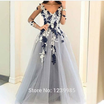 Light Gray Tulle Prom Dress 2016 Long Sleeves Flower Evening Dress Sexy Middle East Saudi Arabia Style Lady Party Gowns