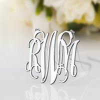 Initial monogram necklace -- personalized 1 inch monogram jewelry 925 sterling silver necklace