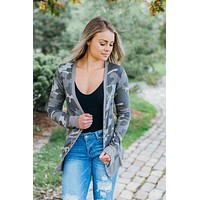 Perfectly Snapped Cardigan- Dusty Camo