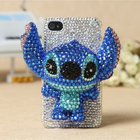 iPhone 5 Chritmas Gift case iphone crystal 3D Blue Stitch cover case Rhinestone iPhone case Christmas present decorate iPhone 4s 4 case
