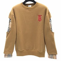 Burberry New fashion embroidery letter couple plaid long sleeve top sweater Khaki