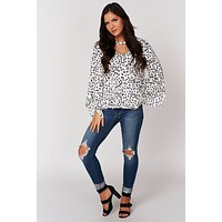 Say You Will Cutout Surplice Top (Off White)