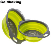 2 Pieces Collapsible Silicone Colander Folding Kitchen Silicone Strainer Including One 8 Inch and One 9.5 Inch