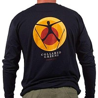 American Made Long Sleeve Spread Eagle Ski Tee in Navy by Collared Greens