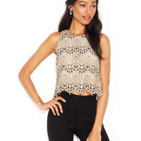 Maison Jules Sleeveless Lace Cropped Top